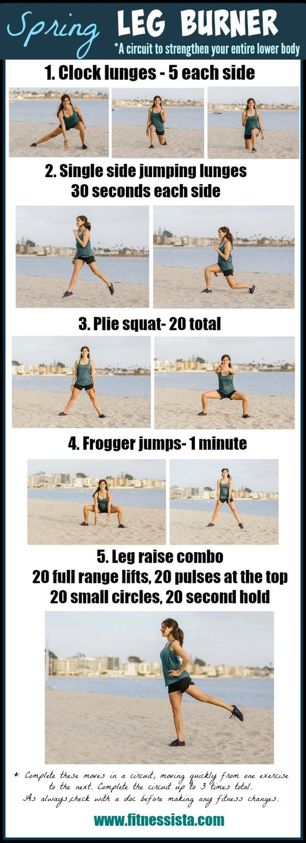 Spring leg burner. A killer leg workout you can do anywhere without equipment! www.fitnessista.com