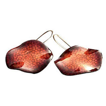 Arracades de coure, fet a mà amb esmalts al foc. Preu: 40€ Copper earrings, handmade with fire enamels. Price: 40€ | 54.70$