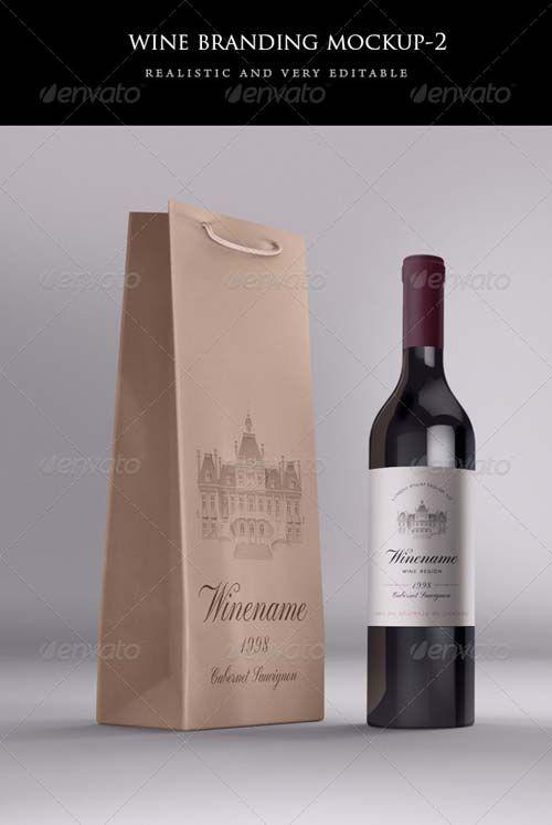 Download Graphicriver Wine Bag And Bottle Mock Up Bottle Packaging Bottle Label Design Wine Bottle Label Design