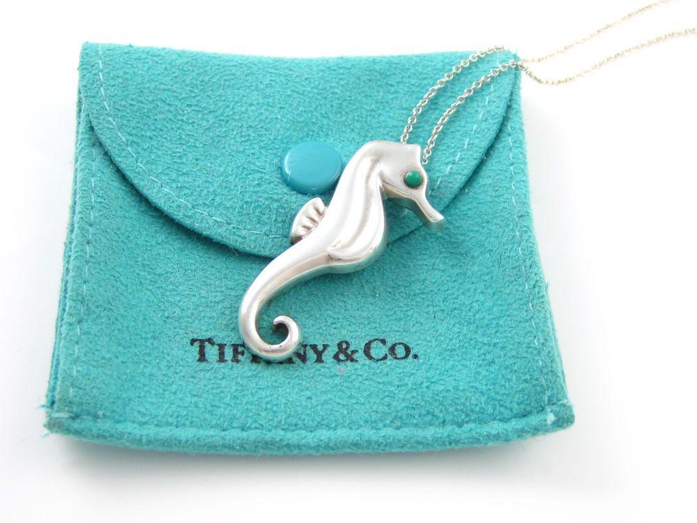 b8bcad523 Tiffany & Co Silver RARE Turquoise Seahorse Sea Horse Pendant ...