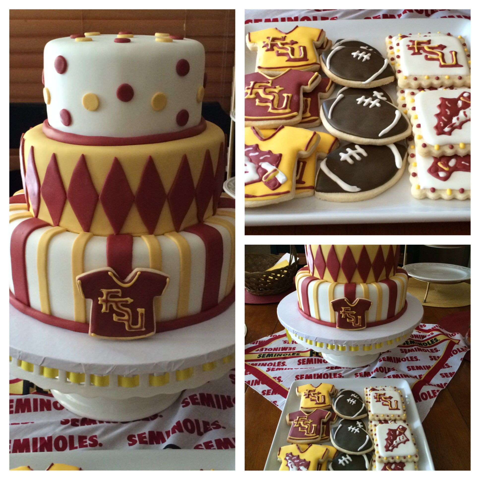 Fsu Cake And Cookies With Images Football Birthday Party