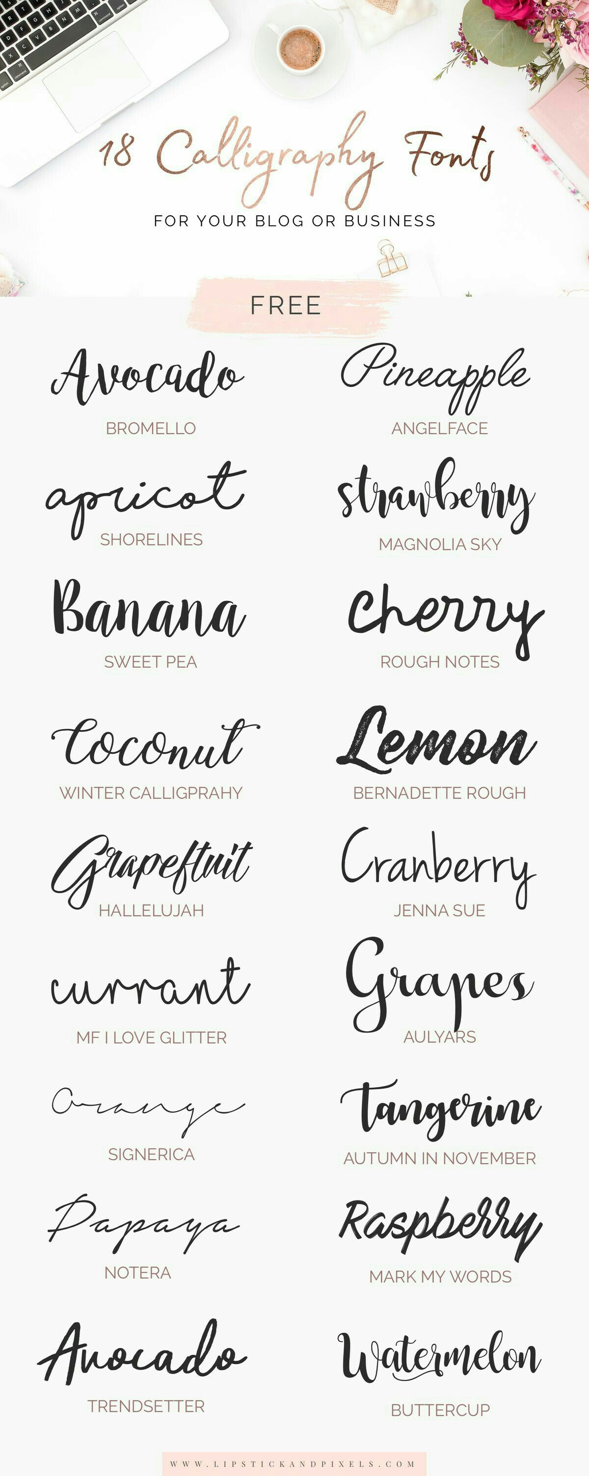 Check out these gorgeous script fonts. Some are free too so enjoy. You will love these if you like calligraphy!
