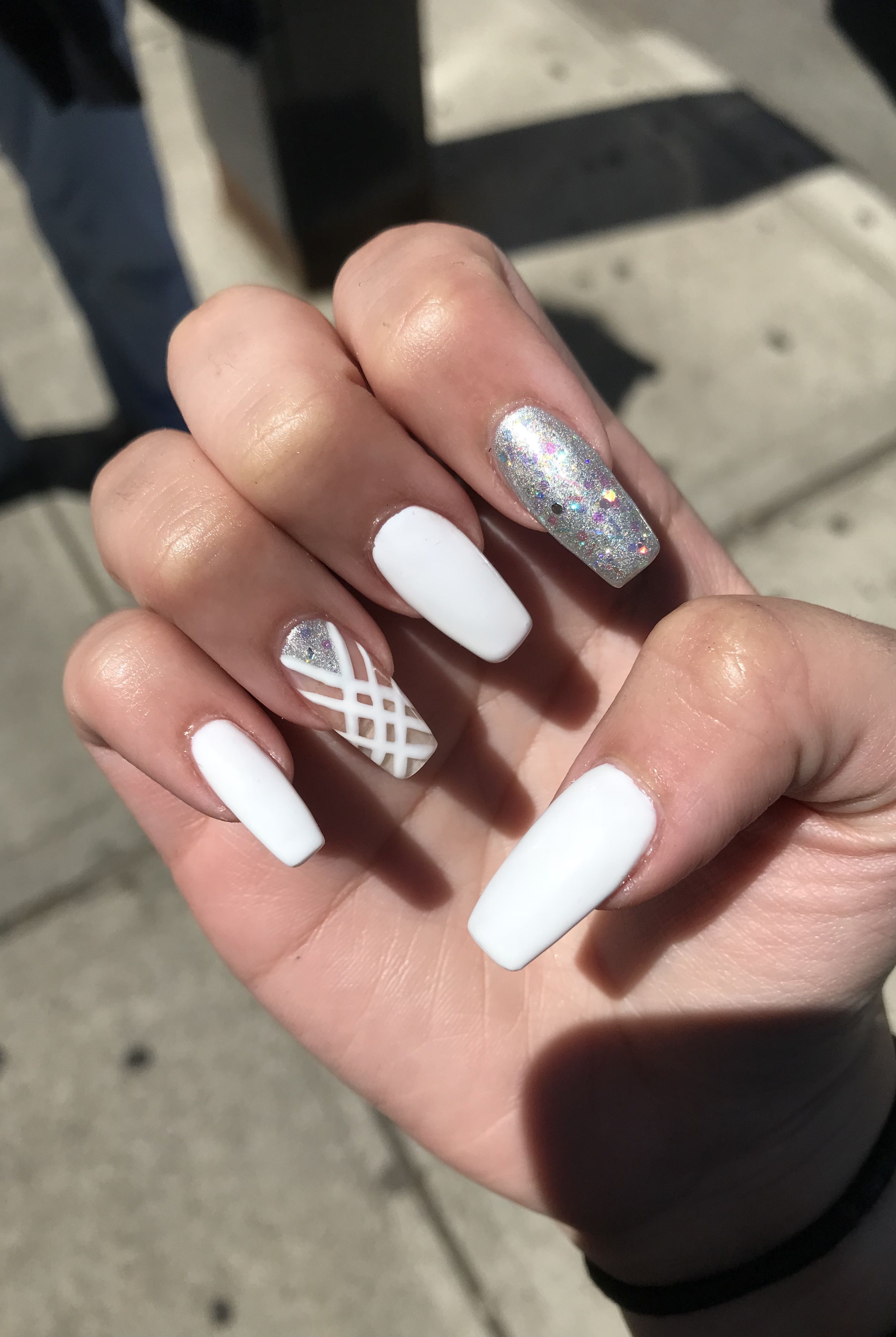 Grey White And Sparkle Nails Winter Wedding Nails Gel Nails Sparkle Nails