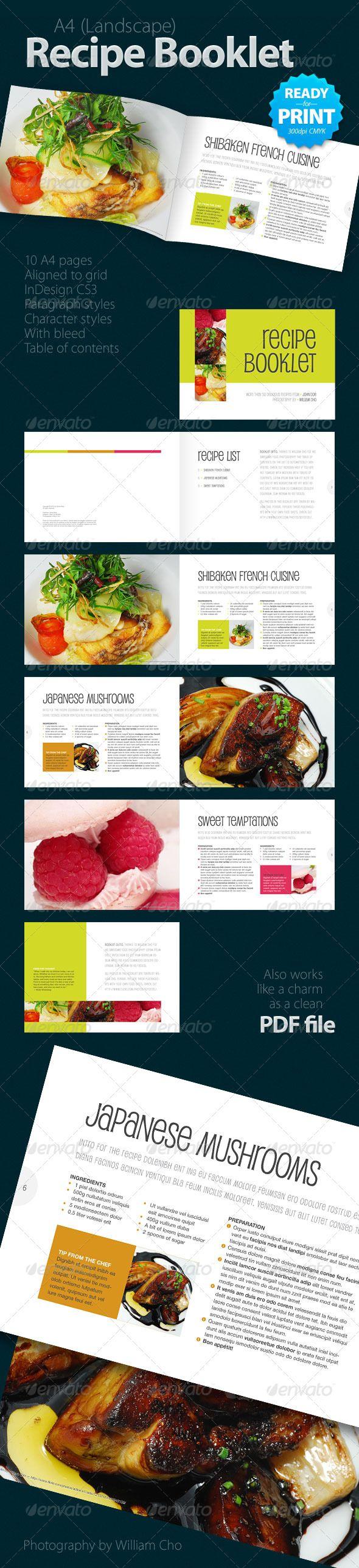 Recipe Booklet (10 pages) | Diseño editorial, Recetario y Editorial