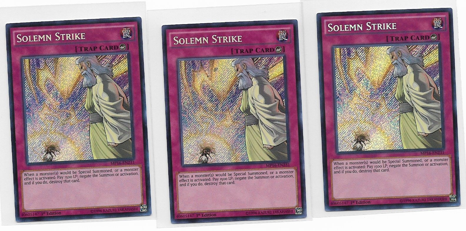 YU-GI-OH 3x SOLEMN STRIKE MP16-EN231 1st EDITION SECRET RARE https://t.co/5WxIZMrCB5 https://t.co/5Rh1Tcgb2g