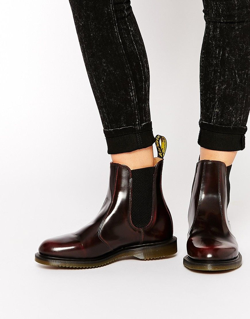 adcdddc79b57c Image 1 of Dr Martens Kensington Flora Burgundy Chelsea Boots ...