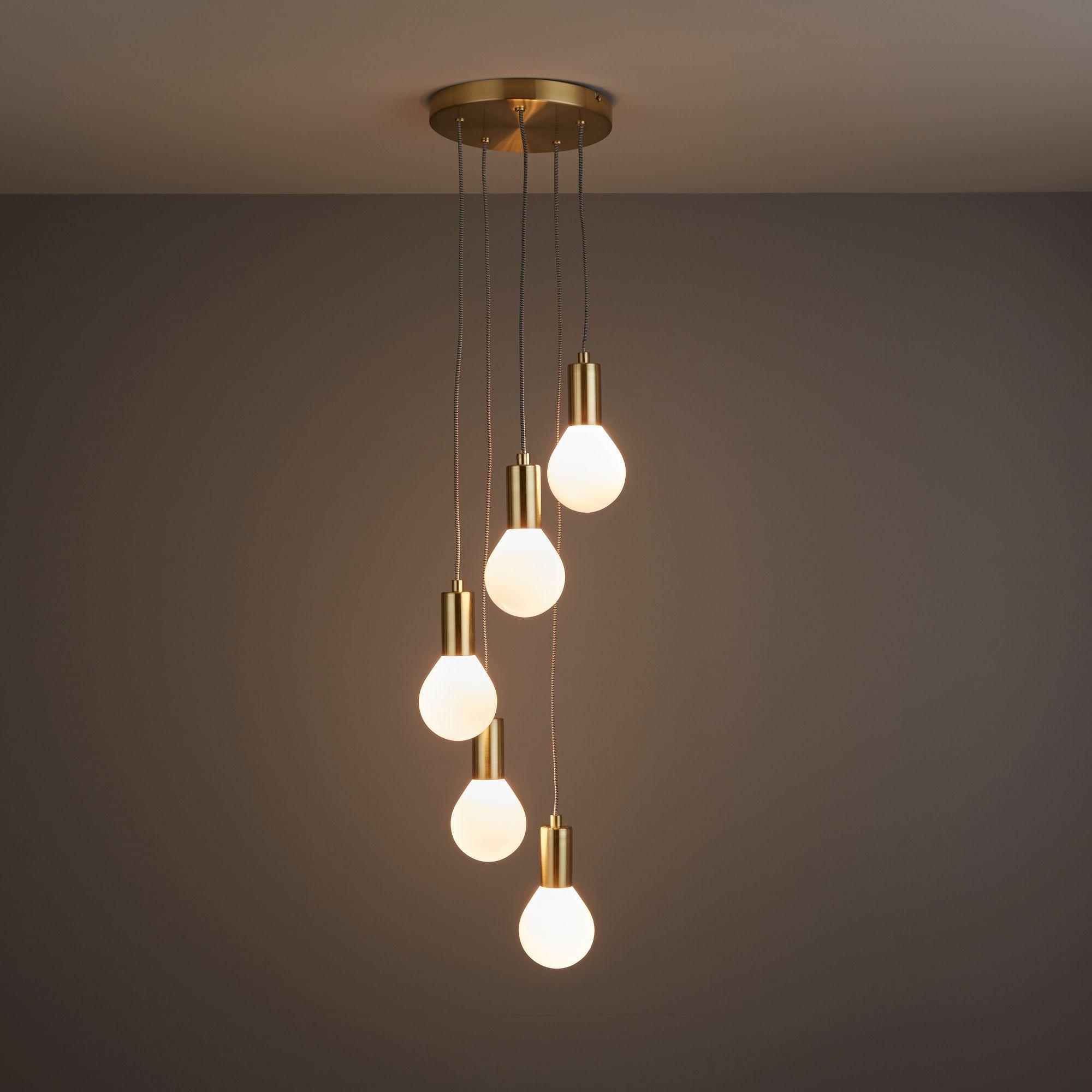 Channing Modern Gold Satin Brushed 5 Lamp Ceiling Light | Pinterest