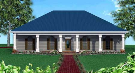 Plan 2521dh Classic Southern With A Hip Roof Hip Roof Design Country Style House Plans Southern House Plans