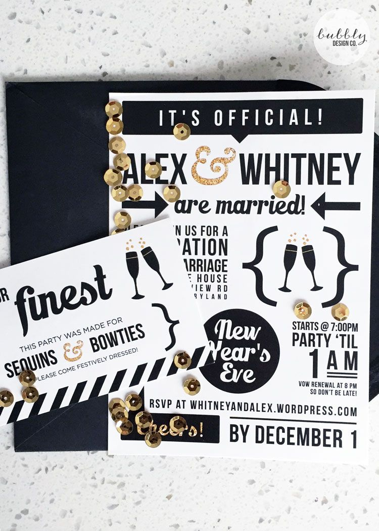 New Years Eve Elopement Celebration Invitation by Bubbly Design