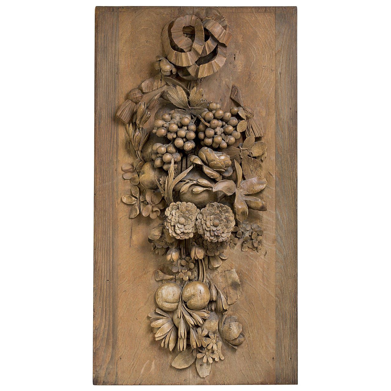Limewood still life panel in the manner of grinling gibbons sh