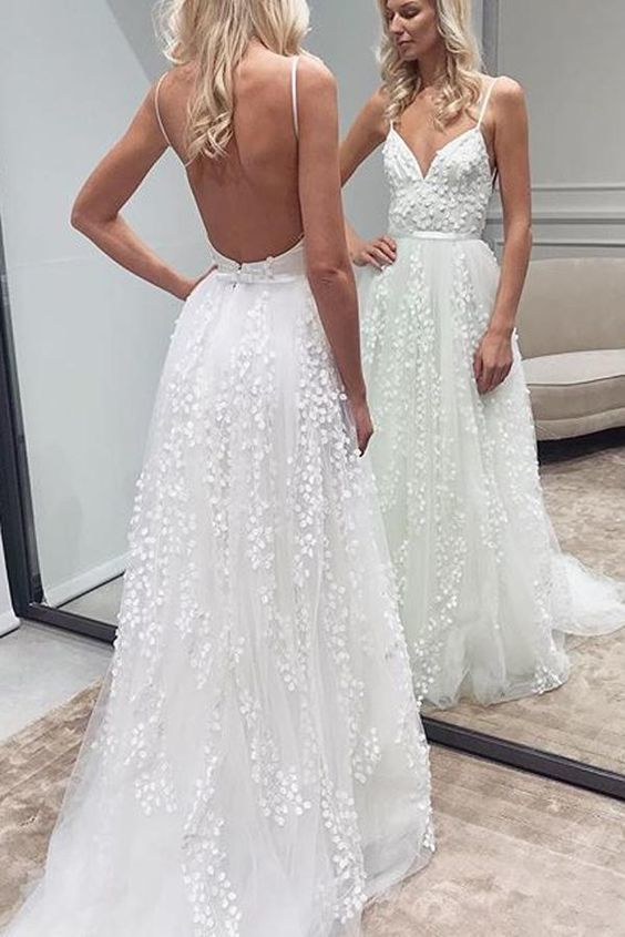 White Lace Backless A-Line Sweetheart Spaghetti Straps Wedding Dresses #flowerdresses