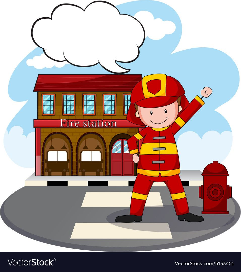 Fire Station Vector Image On Vectorstock In 2021 Fire Station Fire Vector Images