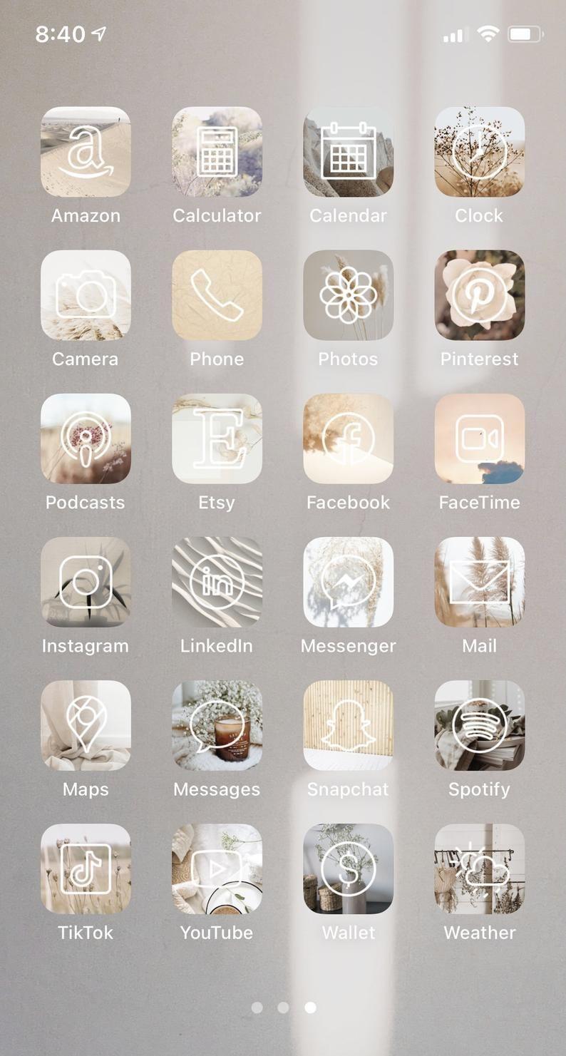 Neutral iPhone iOS 14 App Icons, Aesthetic app ico