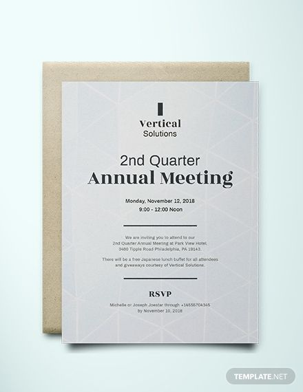 Annual Meeting Invitation Card Template Free Pdf Word Psd Indesign Apple Pages Google Docs Illustrator Publisher Outlook Dinner Invitation Template Invitation Cards Business Invitation