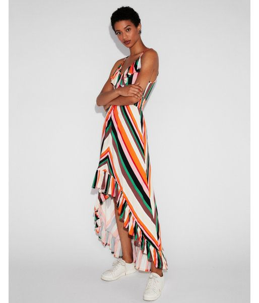 b74c94845e0 Striped Smocked Waist Ruffle Maxi Dress Stripe Women s XX Small ...