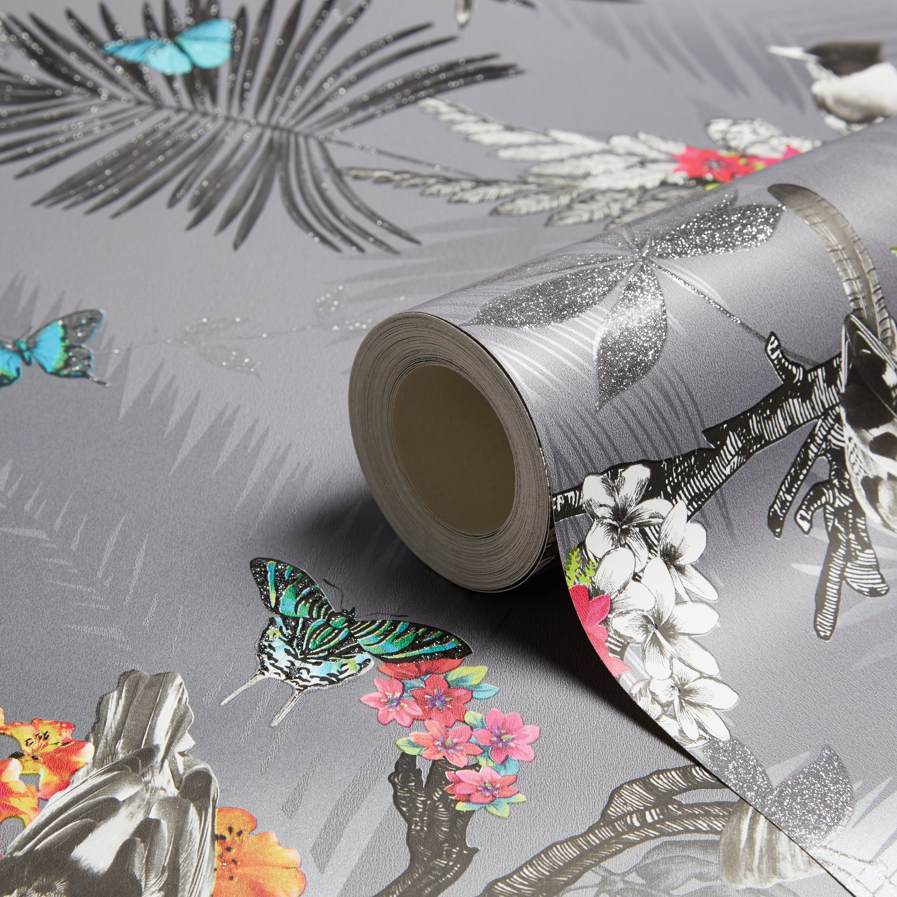 Diy supplies accessories diy at b q - Arthouse Mystical Forest Slate Flora Fauna Glitter Effect Wallpaper