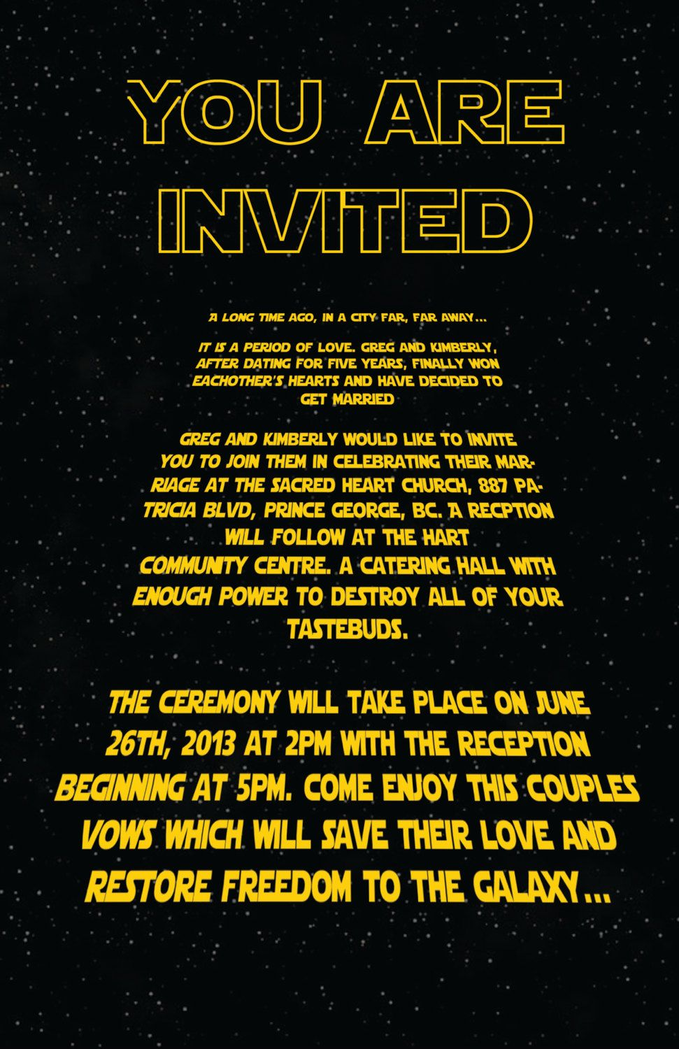 Custom Star Wars Wedding Poster 11 X16 5 Reading Theme Pinterest Posters And