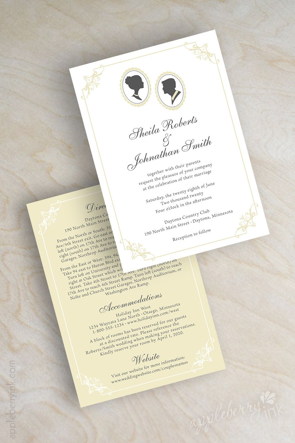 Cameo wedding invitations, vintage wedding invitation, couple ...