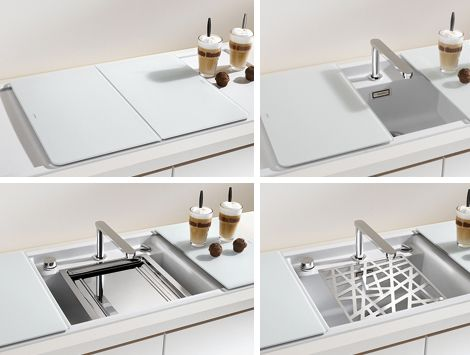 Elegant Enclosed Kitchen Sinks With Movable Cutting Boards And Retractable Faucets    New From Blanco