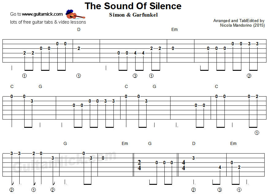 The Sound Of Silence Easy Guitar Tablature Guitar Pinterest
