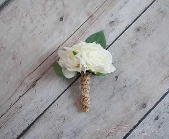 Ivory Rose and Hydrangea Wedding Boutonniere with by KateSaidYes