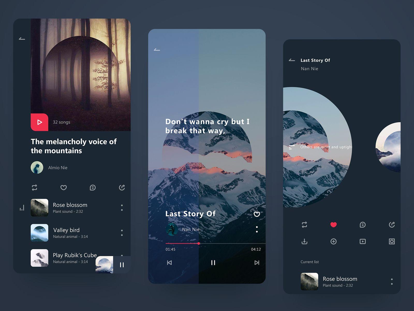Lingering Music Player | App design | App design, App ui
