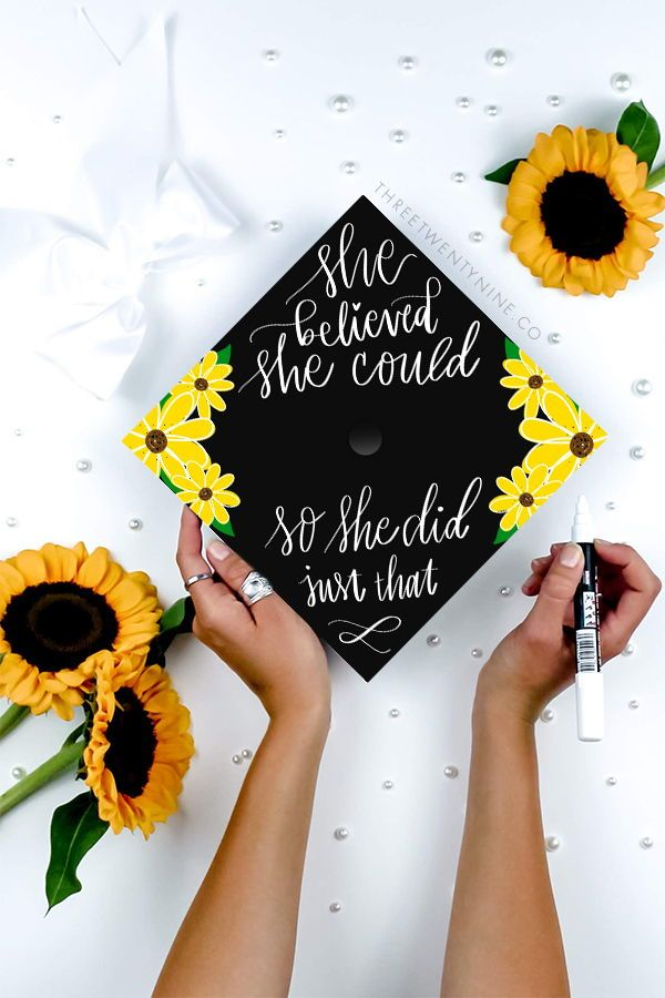 Graduation Cap Decoration | DOWNLOAD ONLY | She believed she could so she did | Sunflowers | Graduation Cap