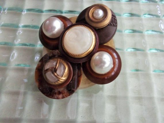 Brown Pearl Gold Button Pin Button Jewelry Repurposed by mscenna