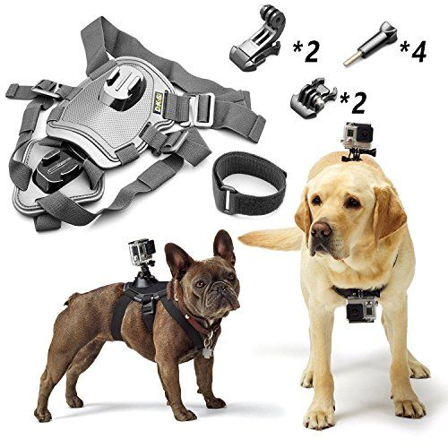 Fetch Dog Harness Chest Mount For Gopro Hero 543 Black Silver