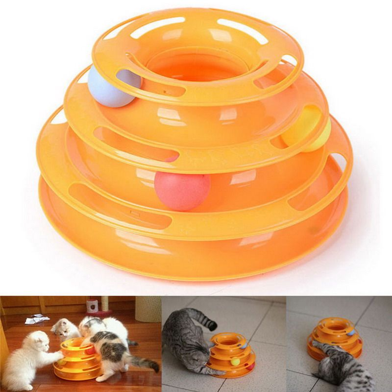 Creative Pet Cat Turntable Toy Luxury Cat Pet Toy Training Amusement Plate Trilaminar Crazy Ball Disk Play Activity Game