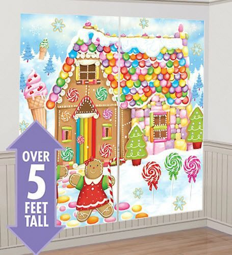 GINGERBREAD HOUSE Scene Setter Christmas Party Wall Decor Kit 5u0027 Candy  Sweets