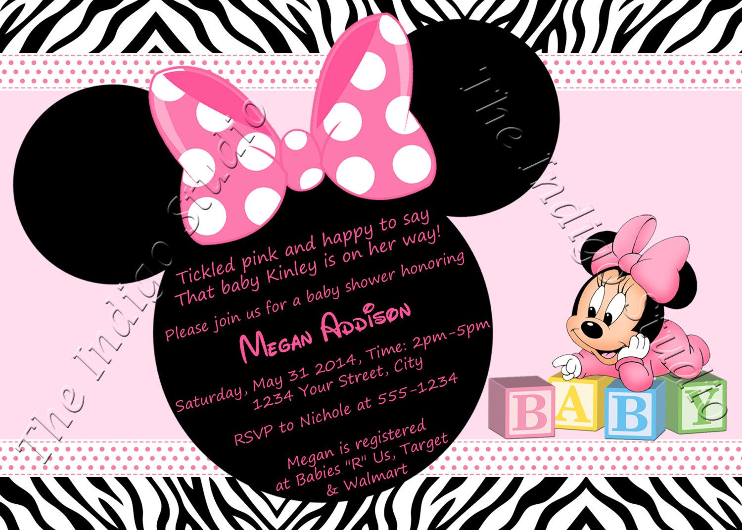 Minnie Mouse Zebra Print Baby Shower Invite Card Personalized