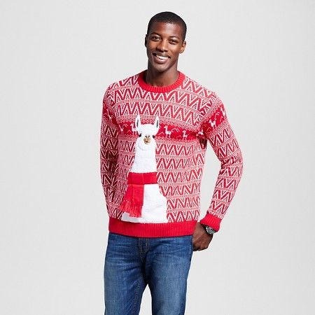 Mens Ugly Christmas Llama Sweater Mens Fashion Sweaters