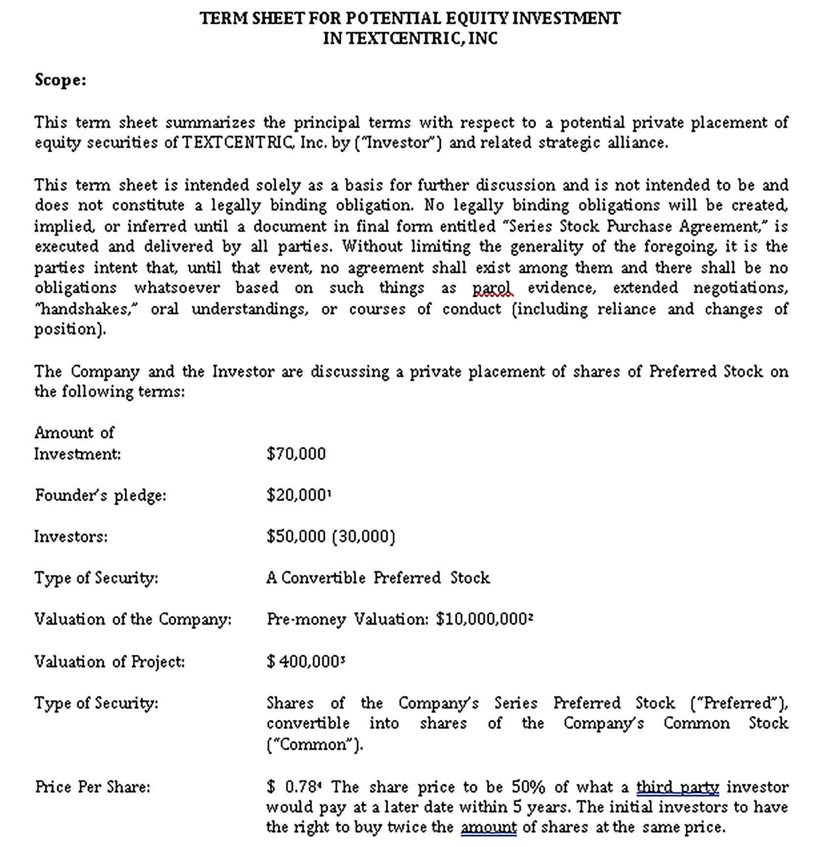 Sample Investment Agreement Template Investing Business Template Term Sheet