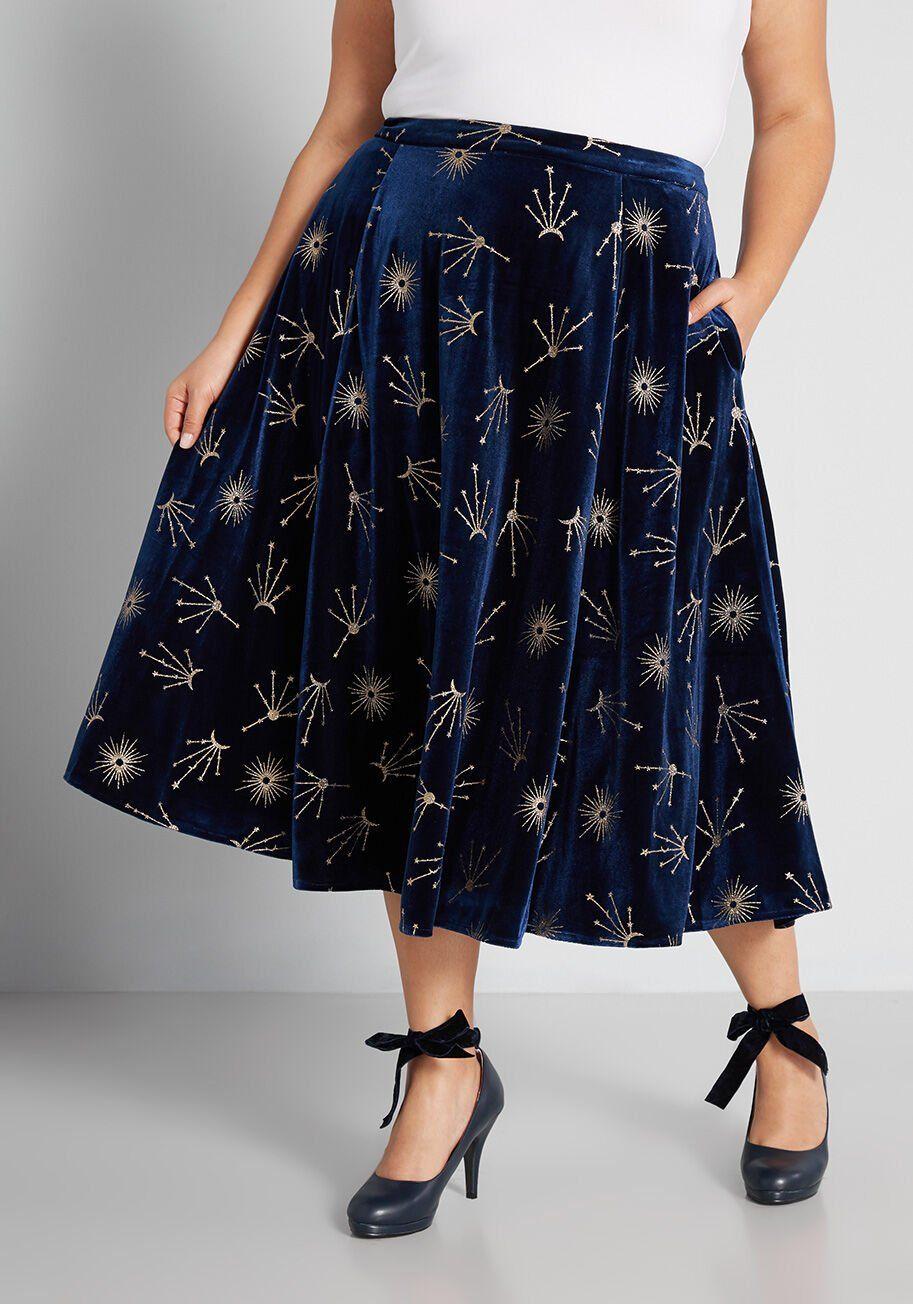 ModCloth x Collectif Extra-Celestial Midi Skirt