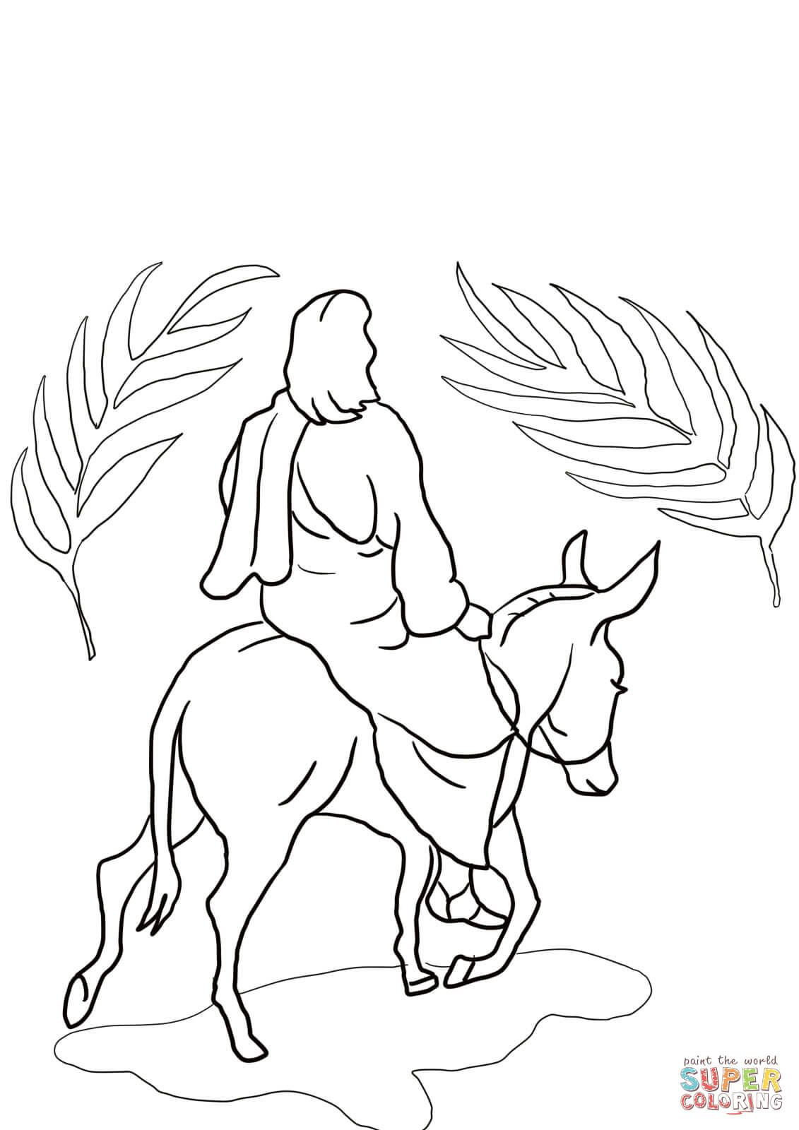 Jesus Riding On A Donkey Super Coloring Jesus Pictures
