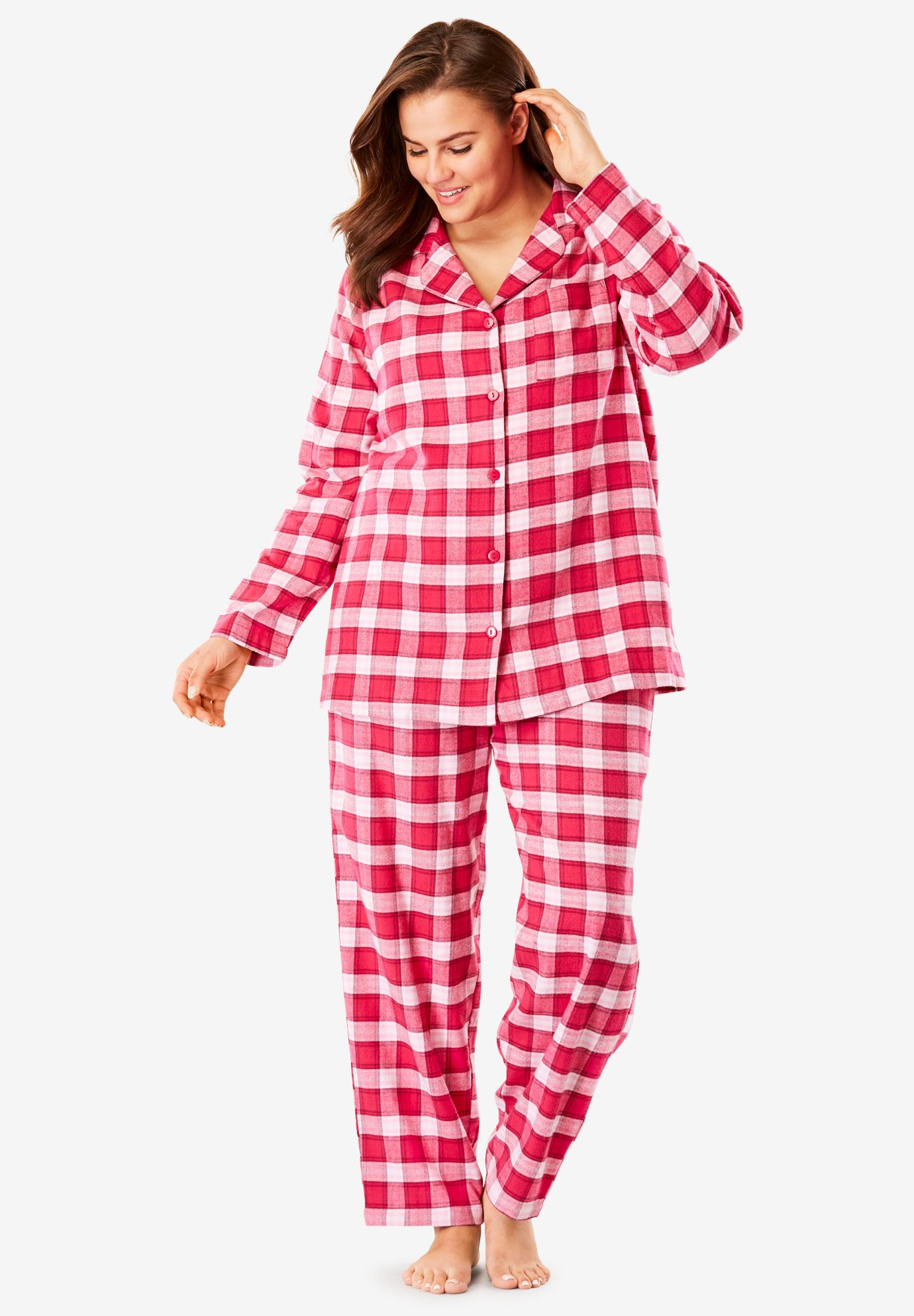 Plaid Flannel Pj Set By Dreams Co Women S Plus Size Clothing Dress Shirts For Women Plus Size Outfits Pajama Set