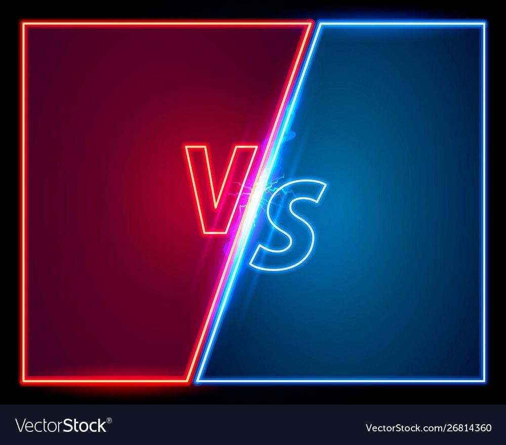 Versus game cover neon banner sport vs team vector image