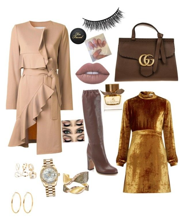 """""""chocolate and nude in the winter"""" by yummycaramel on Polyvore featuring See by Chloé, Gucci, Goen.J, A.L.C., Burberry, Battington and Rolex"""