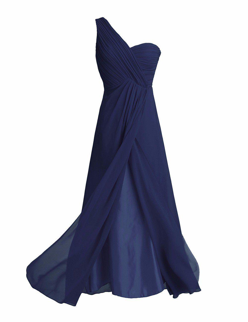 Feeshow women ladies bridesmaid dress chiffon oneshoulder split slit