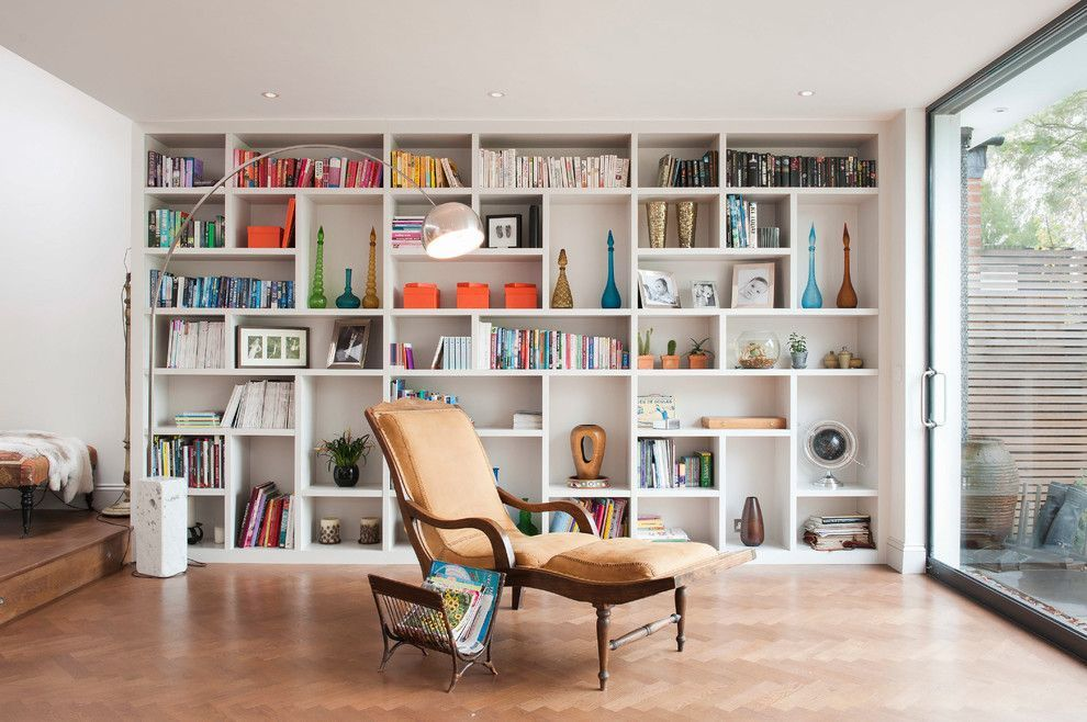 Contemporary Living Room Decor With Open Shelves Decor Ideas From