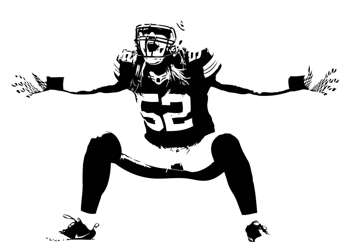 Large Clay Matthews Green Bay Packers Football Vinyl Wall Sticker Decal.  $29.99, Via Etsy Part 54