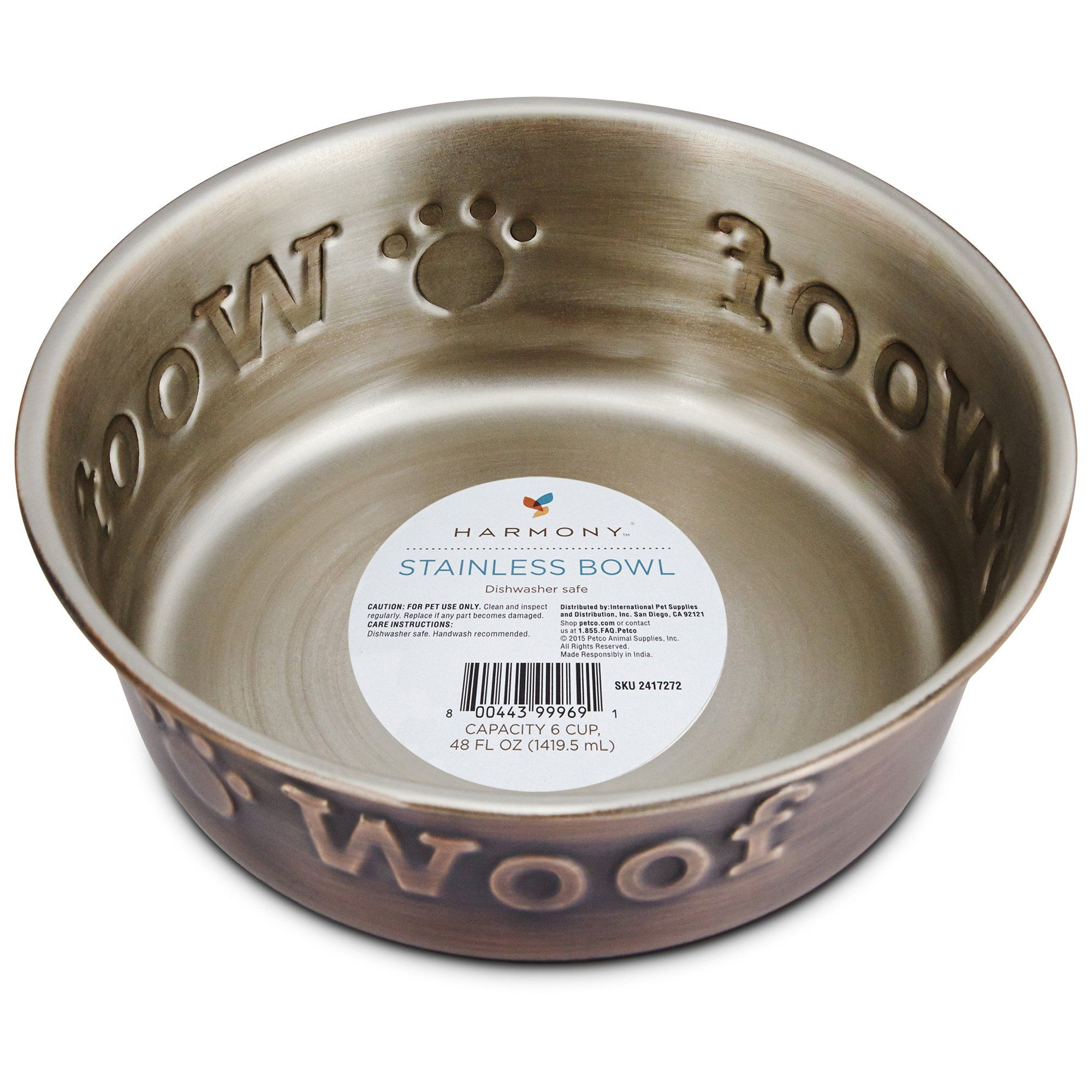 Harmony stainless steel woof copper dog bowl 1 c petco