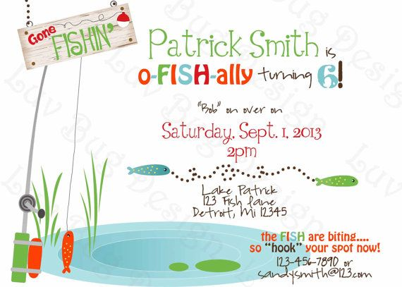 FISHING Birthday Party Invite Printable party invitation by Luv