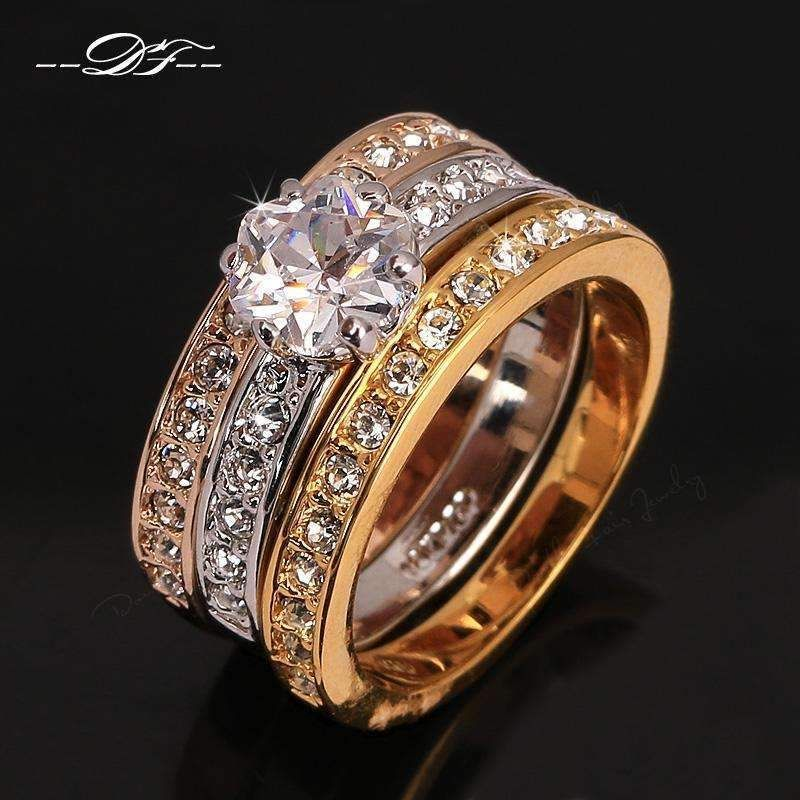 Anti Allergy 3 Rounds Cubic Zirconia Paved Engagement Rings Sets Rose Gold Color Crystal Wedding Jewelry