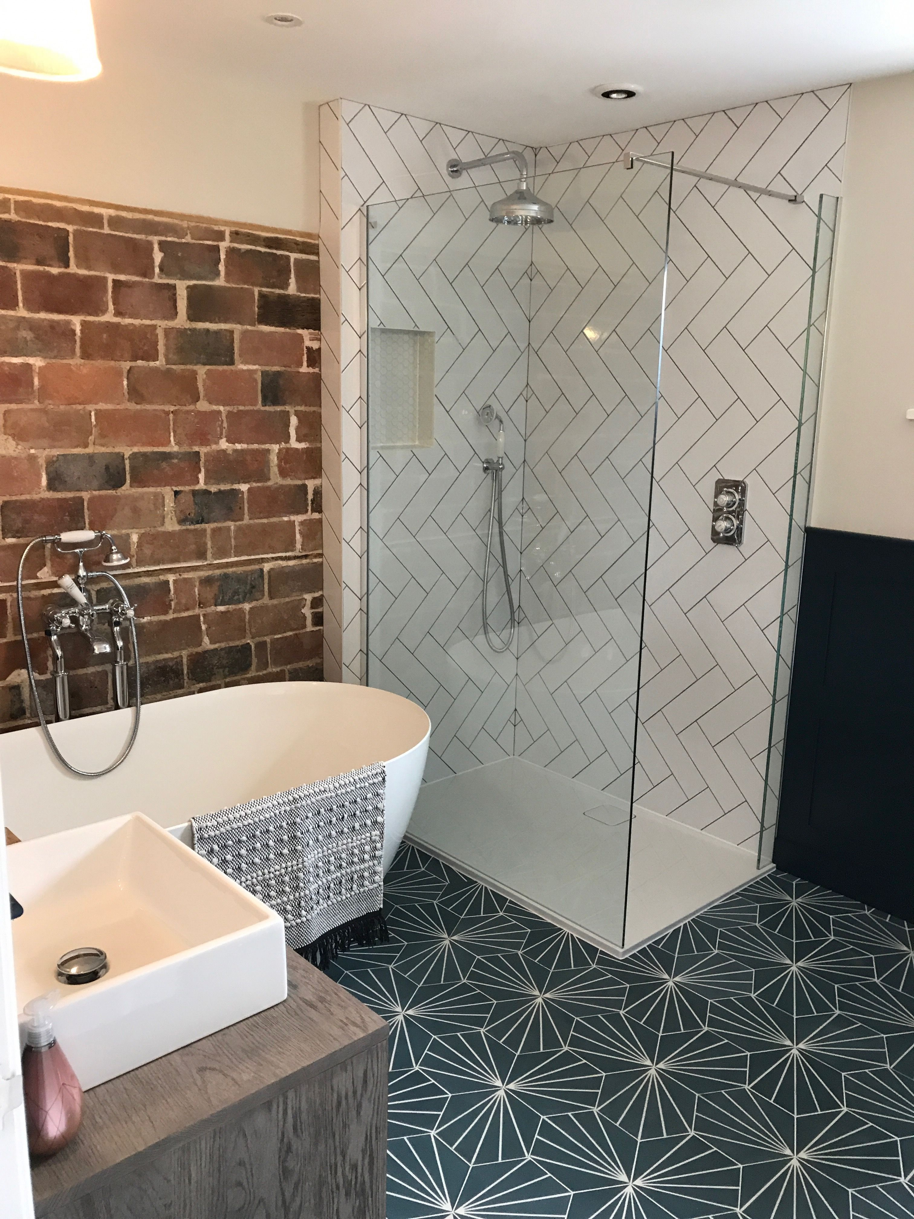 Bathroom Renovation Herringbone Tile Exposed Brick Feature Wall Moroccan Hex Floor Tiles Brick Bathroom Bathroom Inspiration Herringbone Tile Bathroom