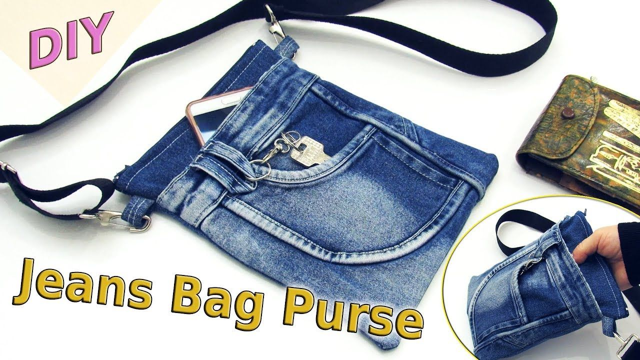 9ac72007d032 DIY Jeans Bag Purse Out Of Old Jeans - How To Sew Denim Shoulder Bag - Old  Jeans Crafts Tutorial - YouTube