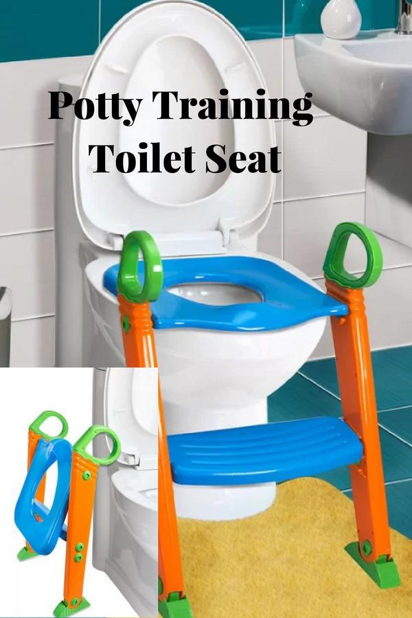 Kids Potty Training Elongated Toilet Seat Easily Folds For Storage