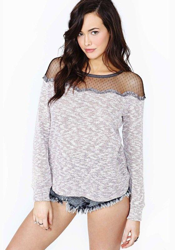 Grey Patchwork Round Neck Long Sleeve Dacron T-Shirt