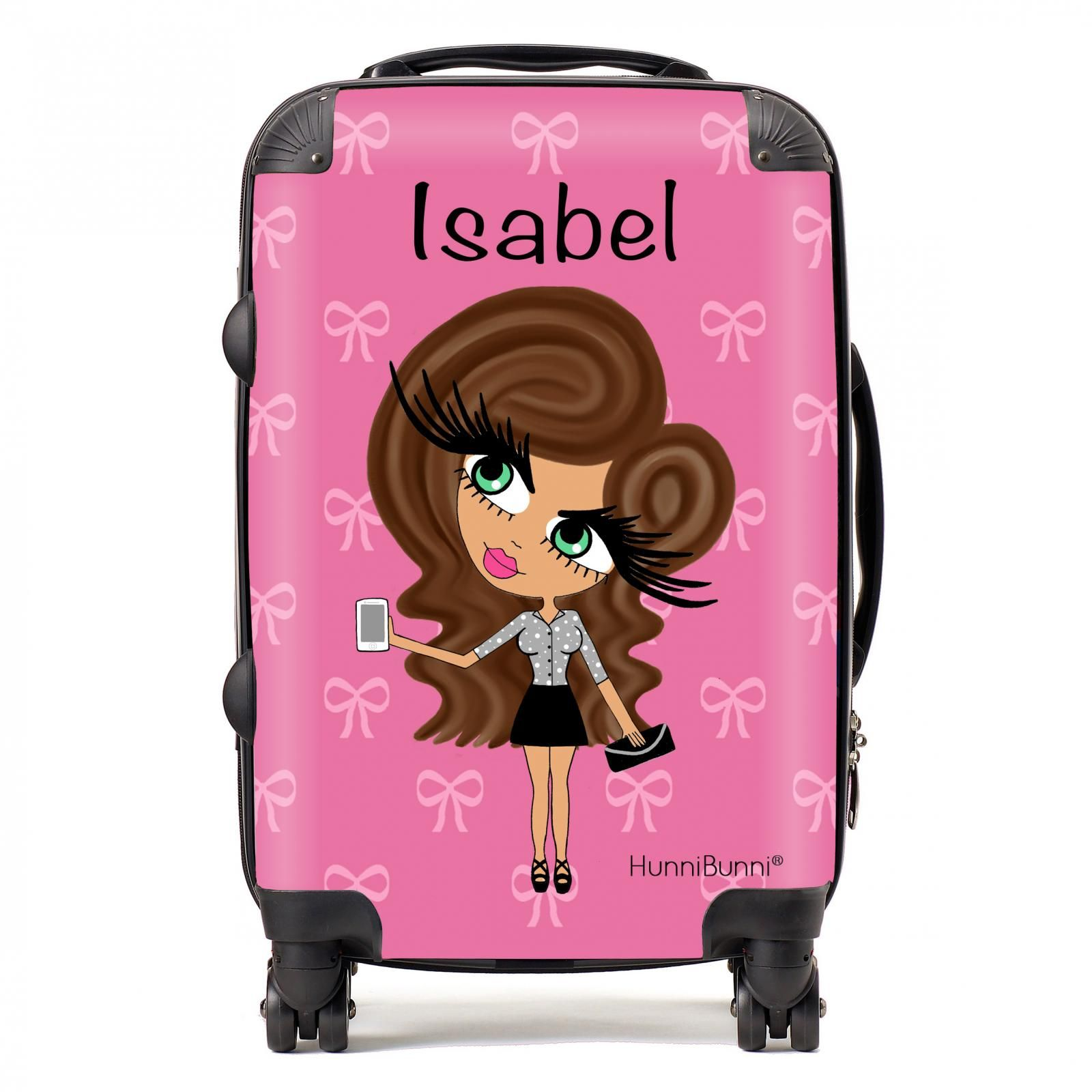 HunniBunni Babes Pink Bow Personalised Suitcase | ♡ Personalised ...